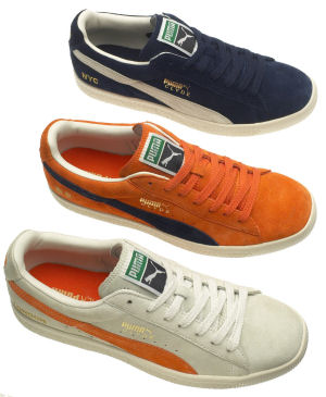 Puma Clyde: the first three 2005 colorways (blue suede with natural formstrip, orange suede with blue formstrip, light tan suede with orange formstrip)