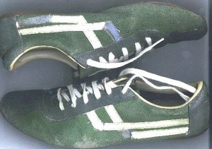 "Columbian ""Lince"" sneakers, green with white trim"