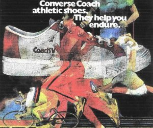 Converse COACH athletic shoes advertising, showing court and running models
