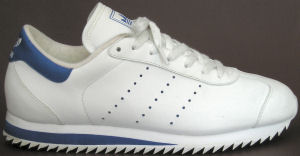 adidas Country Ripple sneaker, white, blue trim, perfed stripes