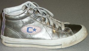 "Converse ""C-Star"" high-top sneaker in metallic silver vinyl"
