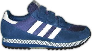 adidas Dallas retro running shoe in blue with white stripes