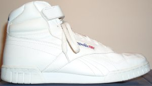 Reebok Ex-O-Fit white leather high-top fitness shoe for guys