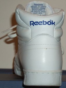 Reebok Ex-O-Fit white high-top, back view