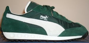 "Puma ""Easy Rider"" sneaker in green with white trim"