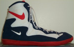 Nike Foot Sweep wrestling shoe: white, blue, and red