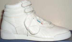 Reebok Freestyle white high-top aerobic shoe for gals, side view