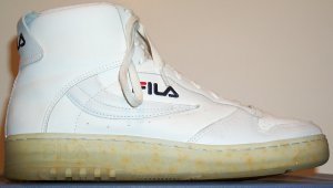 Fila FX-100 white leather high-top sneaker (strap removed)