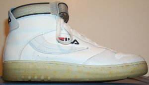 Fila FX-100 athletic shoe, white high-top, with strap