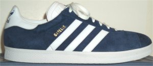 adidas Gazelle athletic shoe in dark blue with white trim