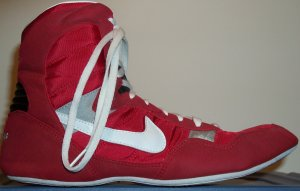 Nike Greco Supreme wrestling shoe in red with white SWOOSH