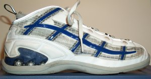 Converse Helium He:01 basketball shoe, white with blue and silver trim