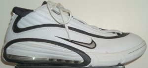 Nike Air Max Highup womens' basketball shoe in white with black and silver trim
