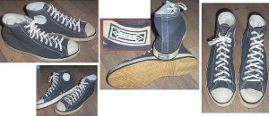 Black Hood canvas high-tops from various angles