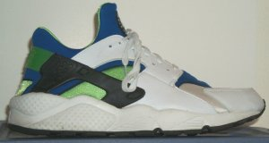 Nike Air Huarache running shoe; white, blue, green, and black