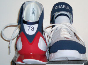 Nike Air Huarache 2K4 iD basketball shoe - front (Charlie) and back (73) views
