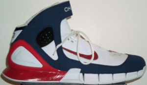 Nike Air Huarache 2K4 iD basketball shoe - white with blue and red trim