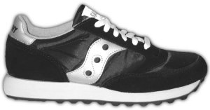 Saucony Jazz retro running shoe: black with silver trim