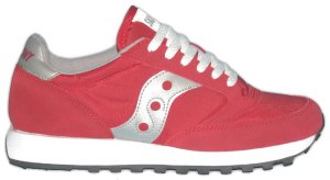 Saucony Jazz classic running shoe: red with silver trim