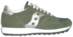 Saucony Jazz classic running shoe: green with silver trim