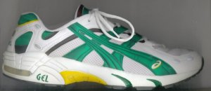 ASICS GEL-Kayano running shoe, white with green, yellow, and black trim