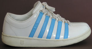 "K-Swiss ""Classic Luxury Edition"" in white patent with Carolina blue stripes"