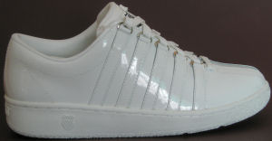 "K-Swiss ""Classic Luxury Edition,"" all-white patent leather shoe"