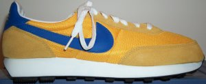 Nike LDV running shoe, yellow with blue trim and SWOOSH