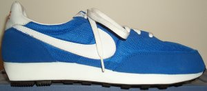 Nike LDV retro running shoe: blue nylon with white SWOOSH and white EVA midsole