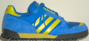 adidas Marathon Trainer running shoe in blue with yellow trim