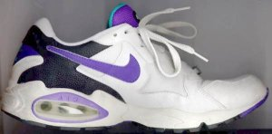 Air Max Triax training-running shoe, 1994 version; white, black, purple, and cyan
