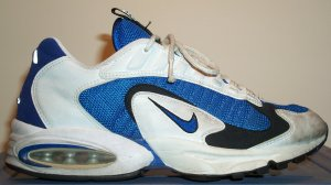 Nike Air Max Triax running shoe, 1996 version; white, blue, and black
