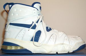 Nike Air Strong High basketball shoe, white with blue SWOOSH and trim