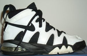 Nike Air Strong mid-top basketball shoe, white with black trim and SWOOSH
