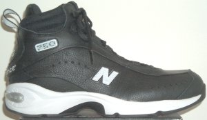 New Balance 750 high-top basketball shoe, black with white trim