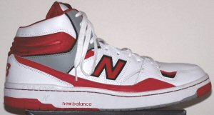 New Balance 800 high-top basketball shoe in white/red/gray/black
