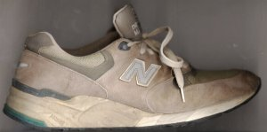New Balance 999 running shoe, gray and dirty