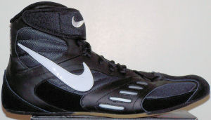 Nike Speedsweep V wrestling shoe, black with white SWOOSH and trim
