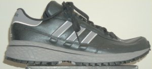 adidas New York Leather retro running shoe in black with gray and white stripes and trim