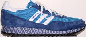 adidas New York Nylon running shoe, blue with white stripes, and mesh Dellinger Web midsole