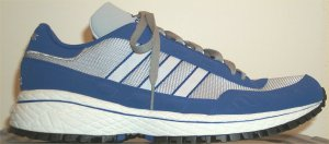 adidas New York Nylon sneakers in gray with blue trim and blue/white stripes