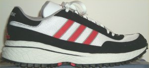 adidas New York retro running shoe in white and black with red stripes