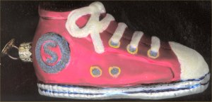 Red Christopher Radko high-top sneaker ornament