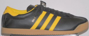 adidas Oslo shoe: black leather, yellow trim and stripes
