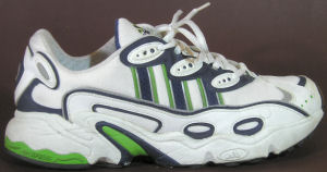 adidas Ozweego running shoe in white and green