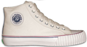 PF Flyers, recent issue, white high-tops with white foxing