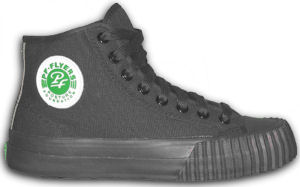 PF Flyers, recent issue, black high-tops with black foxing