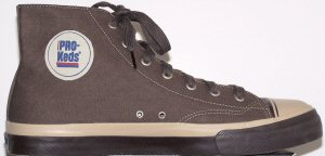 "PRO-Keds ""Royal Canvas"" high-top basketball shoe in chocolate and khaki"
