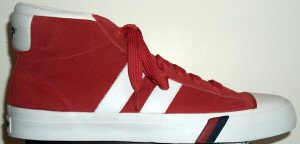 PRO-Keds Royal Plus Hi-Cut in red suede with white stripes