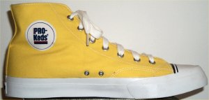 PRO-Keds yellow canvas high-top basketball shoe